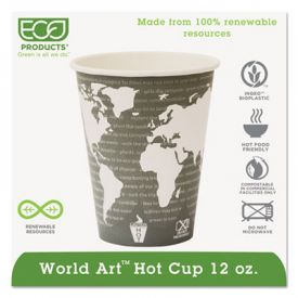 Eco-Products® World Art& Hot Cups, 12 oz, Green