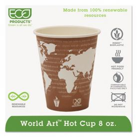 Eco-Products® World Art Hot Cups, 8 oz, Plum