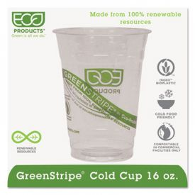 Eco-Products GreenStripe Composable Cold Drink Cups 16 oz Clear