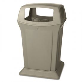 Rubbermaid® Commercial Ranger Fire-Safe Container, Square, 45 gal, Beige