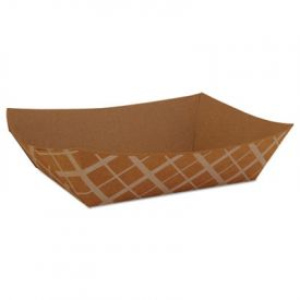 SCT® Paper Food Baskets, Paperboard, Brown/White Check, 3-Lb Cap.