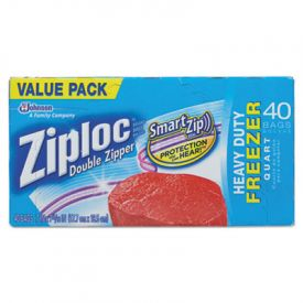 Ziploc® Double Zipper Freezer Bags, 6.97 x 7.7, 1 qt, 2.7 mil