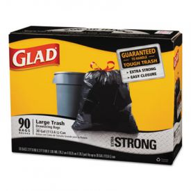 Glad® Drawstring Large Trash Bags, 30 x 33, 30gal, 1.05mil, Black
