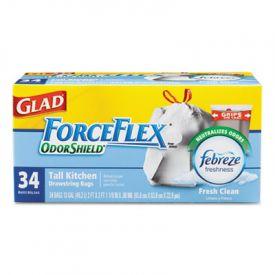 Glad® ForceFlex; OdorShield; Tall Kitchen Drawstring, 13 gal, 24 x 28