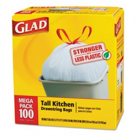 Glad® Tall Kitchen Drawstring Trash Bags, 13 gallon, .95mil, 24 x 27 3/8