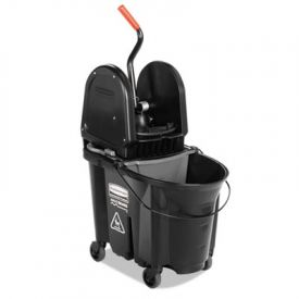 Rubbermaid® Executive WaveBrake Down-Press Mop Bucket, Black, 35 Qt