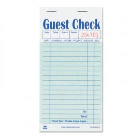 Royal Guest Check Book, Carbon Duplicate, 3 1/2 x 6 7/10
