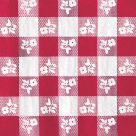 Red Gingham Beverage Napkins, 2-Ply, High-Count