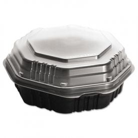 SOLO® Cup OctaView; Lid Hot Food Containers, Black/Clear, 31oz