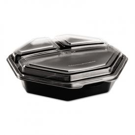 SOLO® Cup OctaView; Lid Cold Food Containers, 3-C, Black/Clear, 36oz