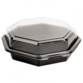 SOLO® Cup OctaView; Lid Cold Food Containers, Black/Clear, 21oz