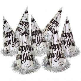 Silver Paper Party Hats, New Year w/ Fringe