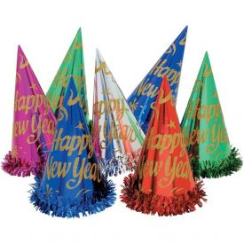 Gold Paper Party Hats, New Year w/ Fringe