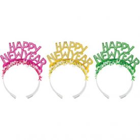 Assorted Color Paper Tiara, New Year Glitter Foil w/ Fringe