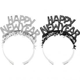 Black & Silver Paper Tiara, New Year Glitter Foil w/ Fringe