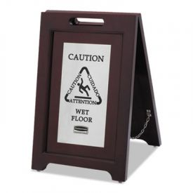 Rubbermaid® Executive 2-Sided Multi-Lingual Wooden Caution Sign, Brown