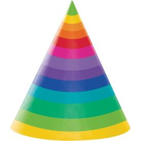 Rainbow Paper Party Hats Adult Size