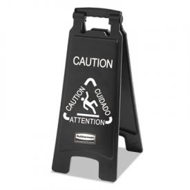 Rubbermaid® Executive 2-Sided Multi-Lingual Caution Sign, Black/White