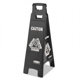 Rubbermaid® Executive 4-Sided Multi-Lingual Caution Sign, Black/White