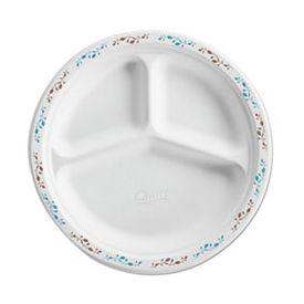 Chinet® Vines Molded Fiber, 3-Comp. Plate, 10 3/4