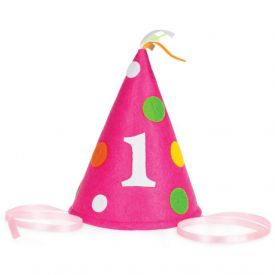 Sweet At One Party Hat Felt Pink Child Size