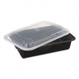 Pactiv VERSAtainer® Containers, Black/Clear, 38oz