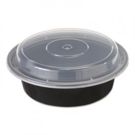 Pactiv VERSAtainer® Containers, 1-Comp, Black/Clear, 16oz, 6