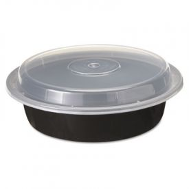 Pactiv VERSAtainer® Containers, 1-Comp, Black/Clear, 24oz, 7