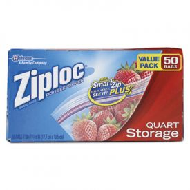 Ziploc® Double Zipper Storage Bags, 9 3/5 x 8 1/2, 1 qt, 1.75mil
