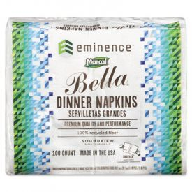 Marcal® PRO; 100% Recycled Bella® Dinner Napkins, 15 x 17, White