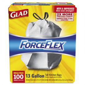 Glad® ForceFlex; Tall Kitchen Drawstring Trash Bags, 13 gal, 24 x 25 1/8