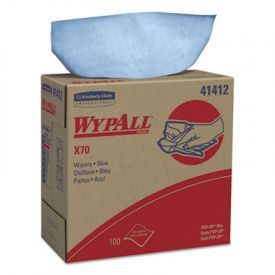 WypAll* X70 Wipers, POP-UP Box, 9 1/10 x 16 4/5, Blue