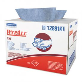 WypAll* X90 Cloths, Brag Box, 11 1/10 x 16 4/5, Blue, 136/Box, 1 Box/Case