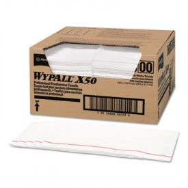 WypAll* X50 Wipers, 23 1/2w x 12 1/2l, White
