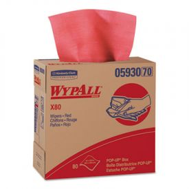 WypAll* X80 Towels 05930, POP-UP Box, 9 1/10 x 16 4/5, Red