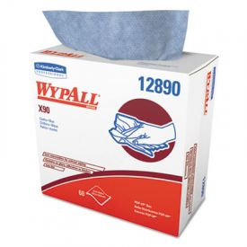 WypAll* X90 Cloths, Pop-Up Box, 8 3/10 x 16 4/5, Denim Blue, 68/Box