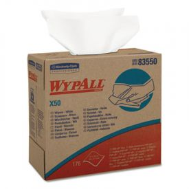 WypAll* X50 Wipers, 9 1/10 x 12 1/2, White, Pop-Up Box