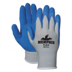 Memphis™ Flex Latex Gloves, Medium, Blue/Gray, Pair