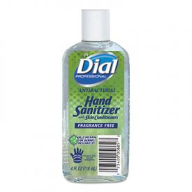 Dial® Antibacterial Hand Sanitizer, 4 oz Bottle, Frag.-Free