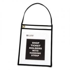 C-Line® Stitched Shop Ticket Holders with Hanging Strap, Black, 9 x 12