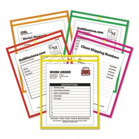 C-Line® Stitched Shop Ticket Holders, Neon, Assorted 5 Colors, 9 x 12