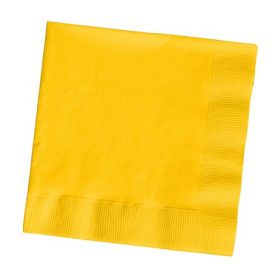 School Bus Yellow Beverage Napkins, 2-Ply, Bulk