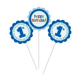 1st Birthday Centerpiece Sticks Blue