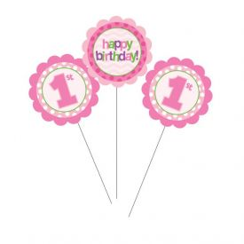 1st Birthday Centerpiece Sticks Pink