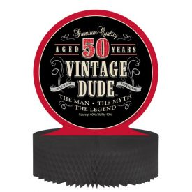Vintage Dude Centerpiece, Honeycomb, 50th
