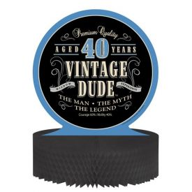 Vintage Dude Centerpiece, Honeycomb, 40th