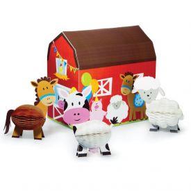 Farmhouse Fun Centerpiece, Honeycomb, Dimensional Barn