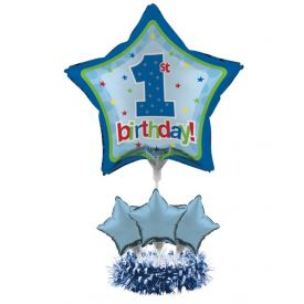 1st Birthday Air Filled Balloon Centerpiece Kit Blue