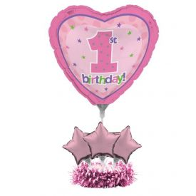 1st Birthday Air Filled Balloon Centerpiece Kit Pink