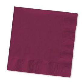 Burgundy Dinner Napkins, 2-Ply, 1/8 Fold, Bulk